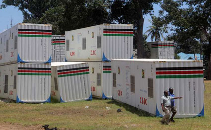 Mobile clinics dumped at the NYS yard in Mombasa